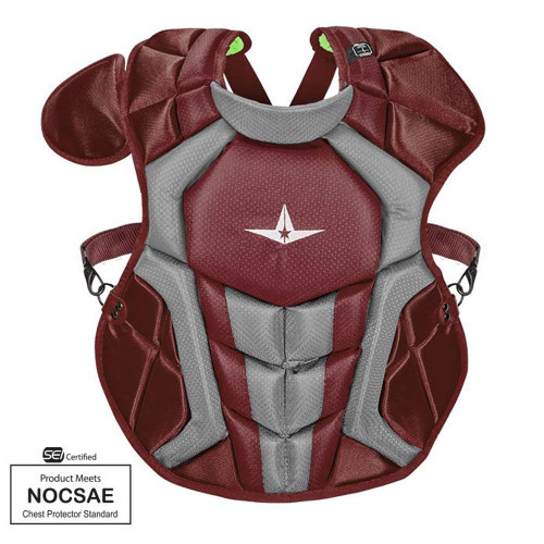 All-Star S7 Axis Chest Protector 12-16 - 15.5 Maroon NOCSAE