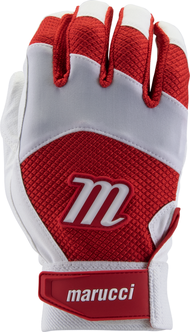 Marucci Code Adult Batting Gloves 1 Pair White Red Adult Small