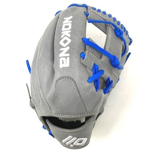 Nokona American KIP 14U Gray with Royal Laces 11.25 Baseball Glove I-Web Right Hand Throw