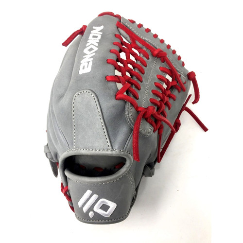 Nokona AmericanKip 14U Gray with Red Laces 11.25 Baseball Glove Mod Trap Web Right Hand Throw