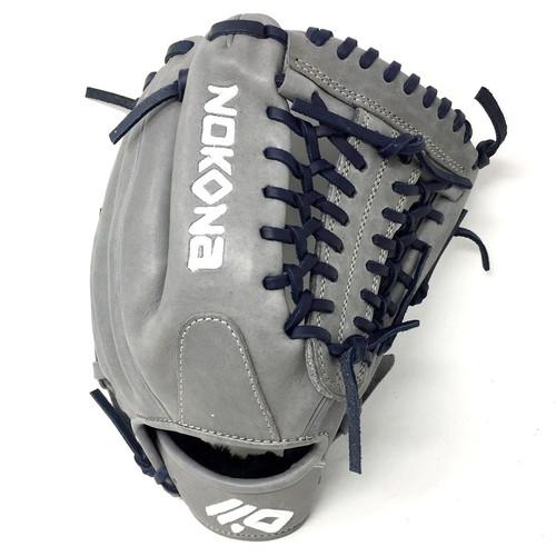 Nokona AmericanKip 14U Gray with Navy Laces 11.25 Baseball Glove Mod Trap Web Right Hand Throw