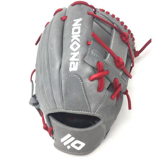 Nokona American KIP Gray with Red Laces 11.5 Baseball Glove I-Web Right Hand Throw