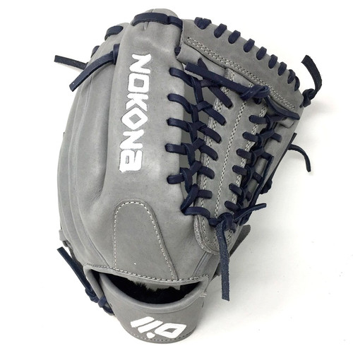 Nokona American KIP Gray with Navy Laces 11.5 Baseball Glove Mod Trap Web Right Hand Throw
