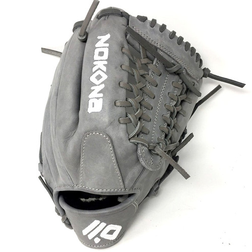 Nokona American KIP Gray with Grey Laces 11.5 Baseball Glove Mod Trap Web Right Hand Throw