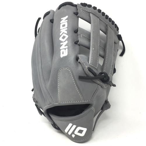 Nokona American KIP Gray with Black Laces 12 Baseball Glove H Web Right Hand Throw