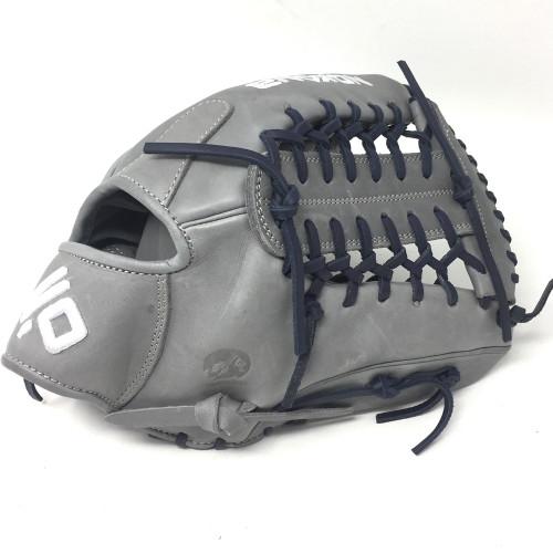 Nokona American KIP Gray with Navy Laces 12 Baseball Glove Mod Trap Web Right Hand Throw