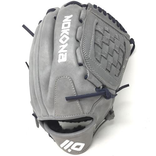 Nokona American KIP Gray with Navy Laces 12 Baseball Glove Closed Trap Web Right Hand Throw