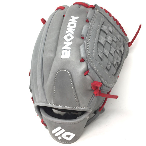 Nokona American KIP Gray with Red Laces 12 Baseball Glove Closed Trap Web Right Hand Throw
