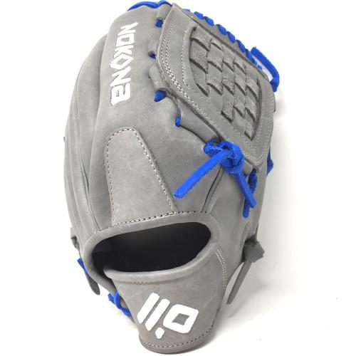 Nokona American KIP Gray with Royal Laces 12 Baseball Glove Closed Trap Web Right Hand Throw