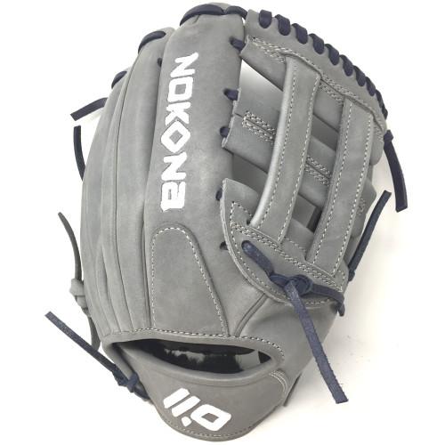 Nokona American KIP Gray with Navy Laces 11.5 Baseball Glove Closed H Web Right Hand Throw