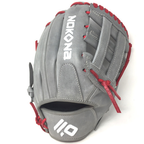 Nokona American KIP Gray with Red Laces 11.5 Baseball Glove Closed H Web Right Hand Throw