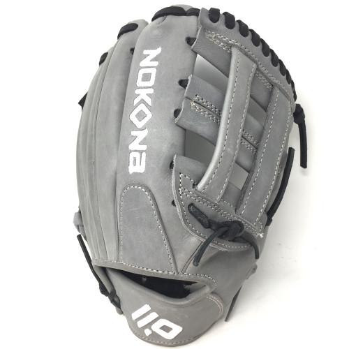 Nokona American KIP Gray with Black Laces 11.5 Baseball Glove Closed H Web Right Hand Throw