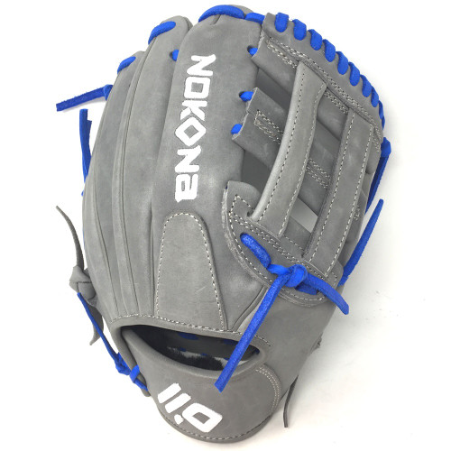 Nokona American KIP Gray with Royal Laces 11.5 Baseball Glove Closed H Web Right Hand Throw