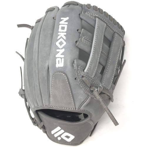Nokona American KIP Gray with Grey Laces 11.5 Baseball Glove Closed H Web Right Hand Throw