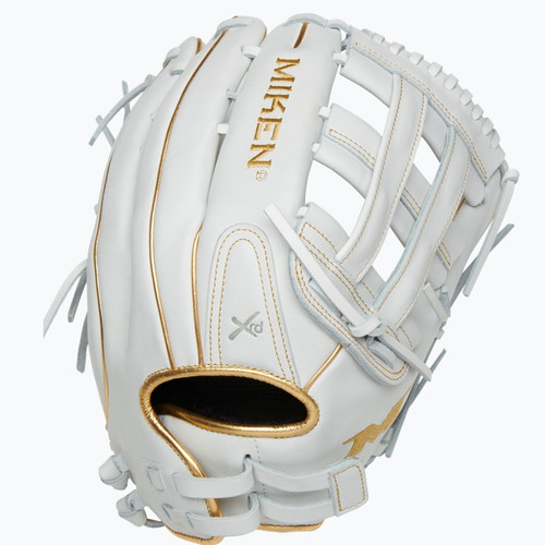Miken Gold Pro White Slowpitch Softball Glove 13 in Right Hand Throw