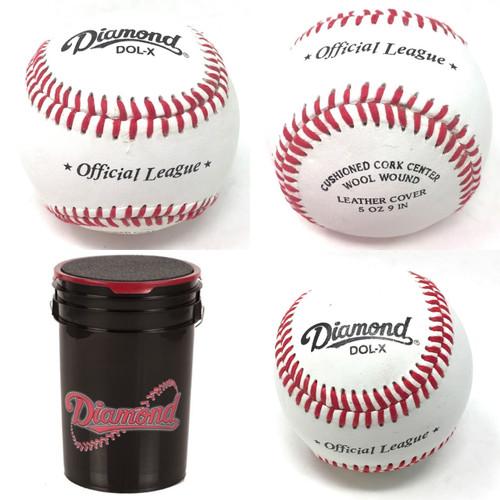 Diamond DOL-X Official Baseballs 30 Balls and Bucket Leather