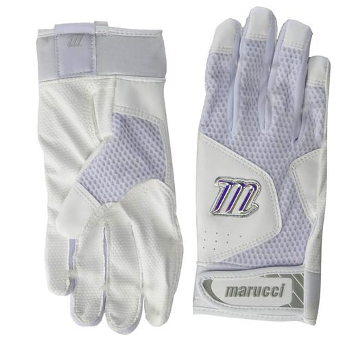Marucci MBGQST2-W/BK-AL Quest 2 Batting Gloves White Adult Large