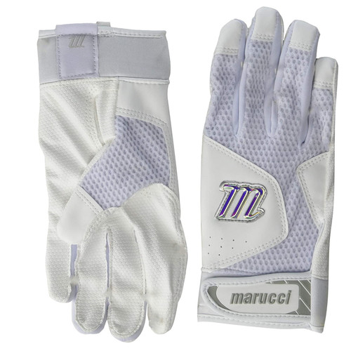 Marucci MBGQST2-W/W-AS Quest 2 Batting Gloves White Adult Small