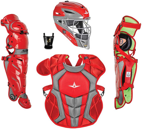 All-Star CKCC1216S7X S7 AXIS Catchers Set Ages 12-16 Scarlet Black