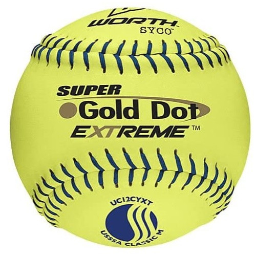 Worth Super Gold Dot Extreme Classic M USSSA Slow Pitch Softballs 1 Dozen