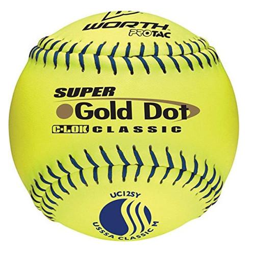 Worth Super Gold Dot Classic M 12 inch Slowpitch Softballs 1 Dozen