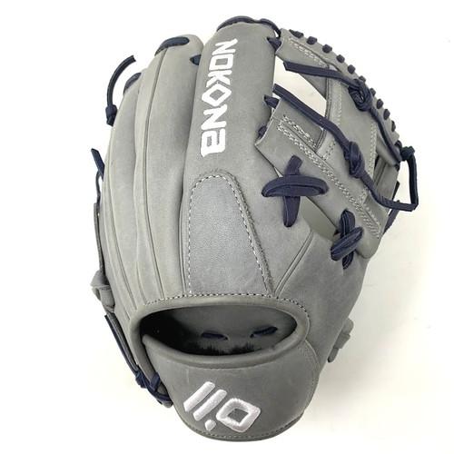 Nokona American Kip 11.5 Baseball Glove I Web Grey Navy Right Hand Throw