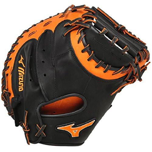 Mizuno GXC50PSE3 Catchers Mitt 34 inch MVP Prime (Black-Orange, Right Hand Throw)