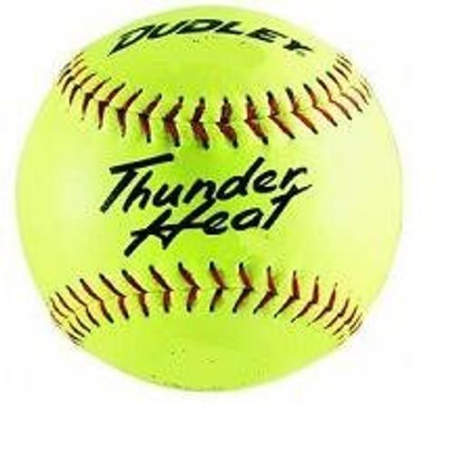 "Dudley Thunder Heat 12"" ASA Fastpitch Softballs Composite Cover COR 47 Compression 375lbs 1 Doz"