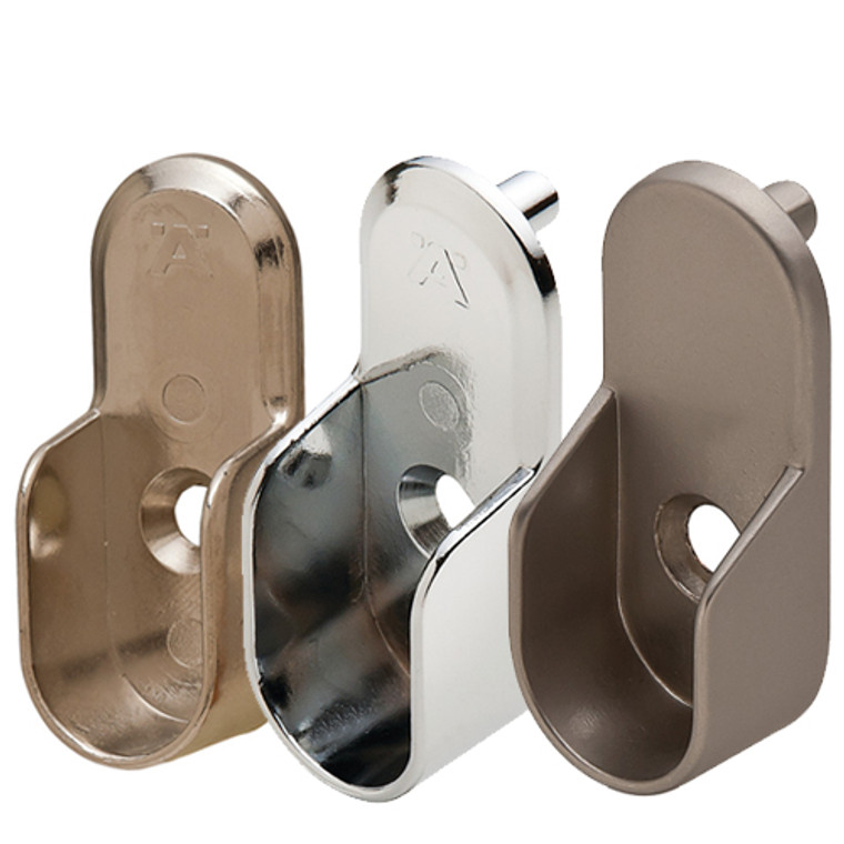 Oval Closet Rod End Support Flange With Pins ForOval Wardrobe Tubing - Choose Your Color