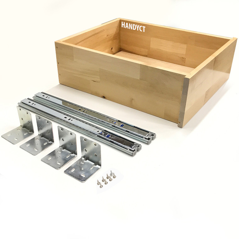 Drawer Box with Soft Close Slides and Brackets - Slide Out Wood Cabinet Organizer - Assembled