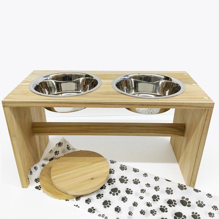 Wooden Dog Feeder, 2 Bowls