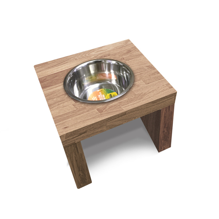 Butcher Block Dog Feeder, 1 Bowl - Single Bowl