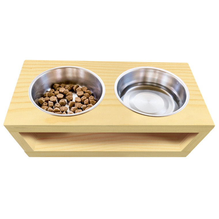 Wooden Dog Feeder, 2 Bowls - Double Bowls