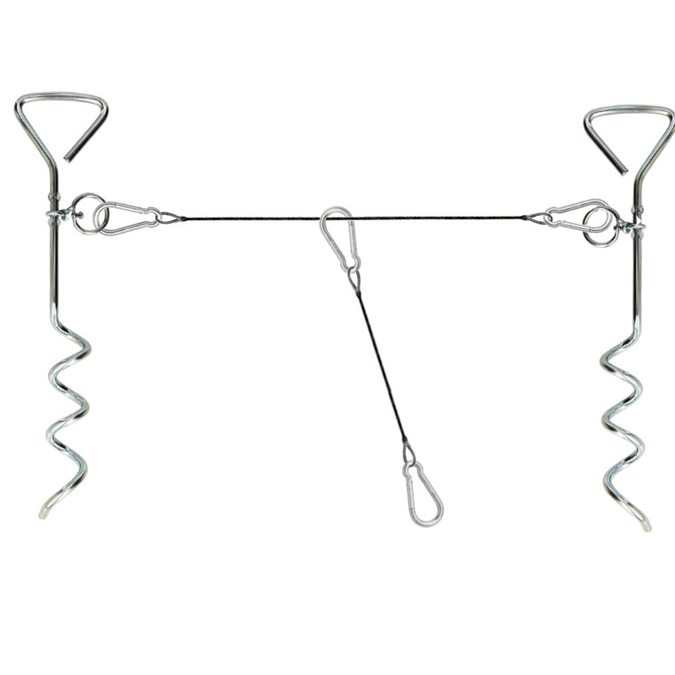 (2) Dog Stake with (2) Tie Out Cable - The Complete Tether System for Small to Medium Pets to Play in The Yard