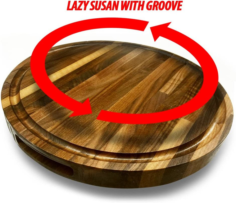 """Round  Sealed Cutting board Butcher block with Lazy Susan and groove, 1-1/2"""" thick"""