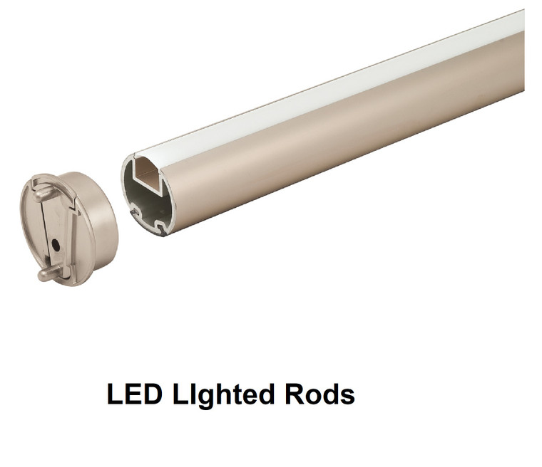 """Lighted ROUND CLOSET ROD KIT  1-5/16""""DIA, Choose your color and length, with Flanges"""