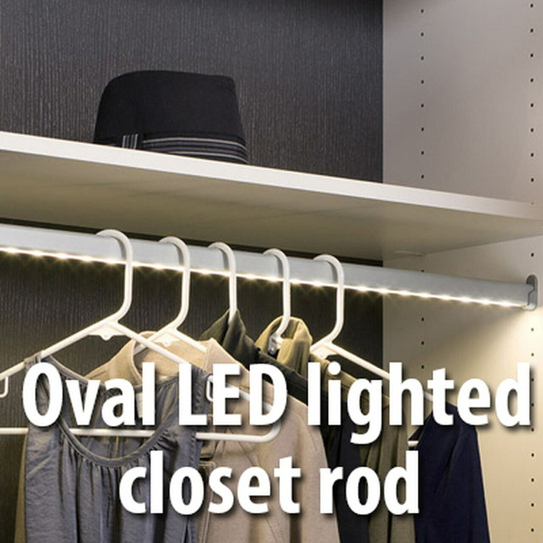 Copy of LED LIghted OVAL  CLOSET ROD KIT 30mmX15mm, Choose your color and Length , LED Light on aluminum Color .