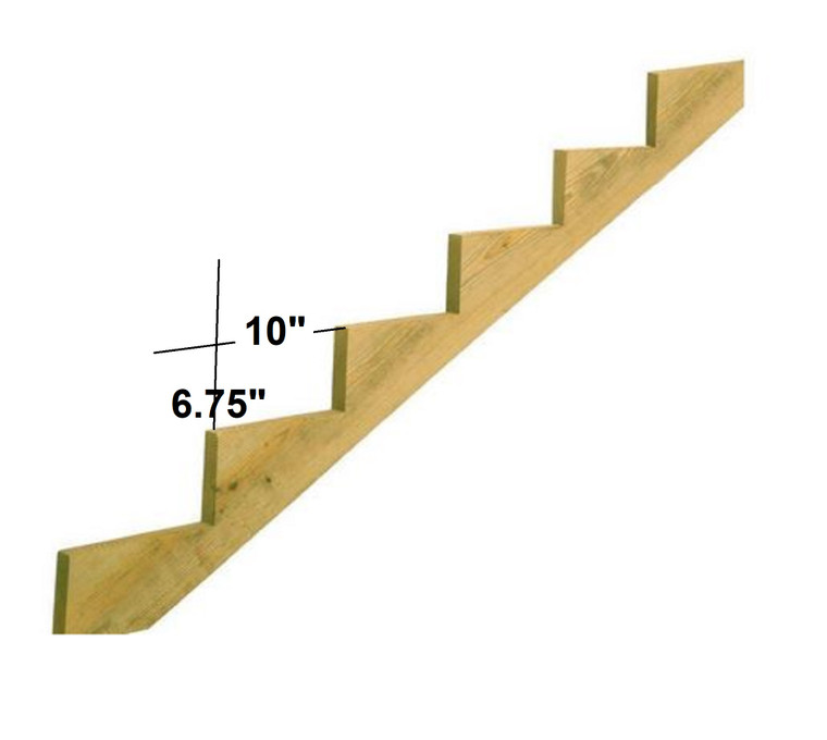 Wooden Stair Stringer, choose steps quantity. Unfinished Solid Wood.