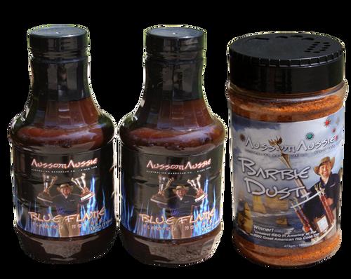 2 x Blue Flame BBQ Sauce 1 x Dust