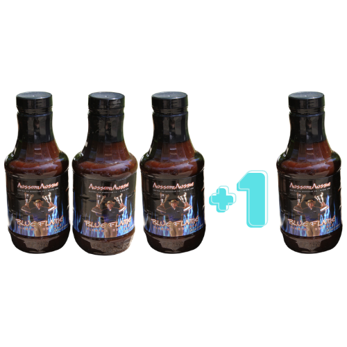 """3 + 1 SPECIAL - Our original XXXtreme hot BBQ sauce called Blue Flame - if you have tried it you know its """"Crazy Hot"""" itÕs the one you give to mates cause its toooo HOT for you!! This sauce has a cult like following those who LOVE HOT HOT HOT will keep coming back for more! It's truly a sauce with FLAVOR that has a hot cycle that builds and builds like no other."""