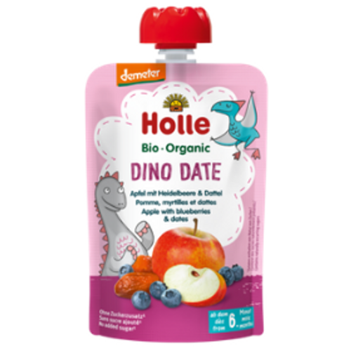 Holle Dino Date apple with blueberries and dates demeter quality organic baby food