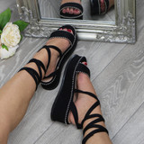 Front right side view of Black Suede Mid Wedge Heel Studded Tie Up Strappy Platform Sandals