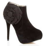 Front right side view of Black Suede High Heel Platform Flower Ankle Boots
