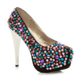 Front right side view of Black Satin High Metal Heel Diamante Gems Platform Court Shoes