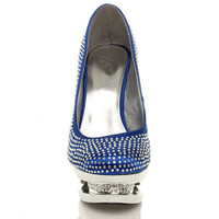 Front view of Blue Satin High Heel Sparkly Diamante Platform Court Shoes