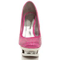 Front view of Fuchsia Pink Satin High Heel Sparkly Diamante Platform Court Shoes