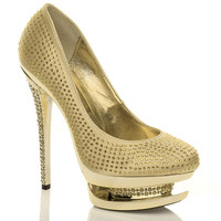 Front right side view of Gold Satin High Heel Sparkly Diamante Platform Court Shoes