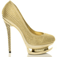 Right side view of Gold Satin High Heel Sparkly Diamante Platform Court Shoes