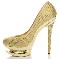 Left side view of Gold Satin High Heel Sparkly Diamante Platform Court Shoes