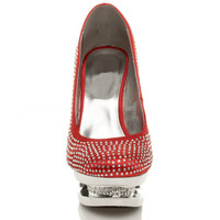 Front view of Red Satin High Heel Sparkly Diamante Platform Court Shoes